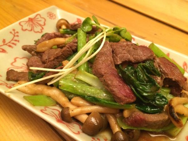 鹿と小松菜のオイスター炒め